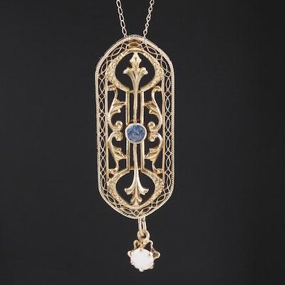 Art Nouveau 14K Sapphire and Opal Pendant Necklace