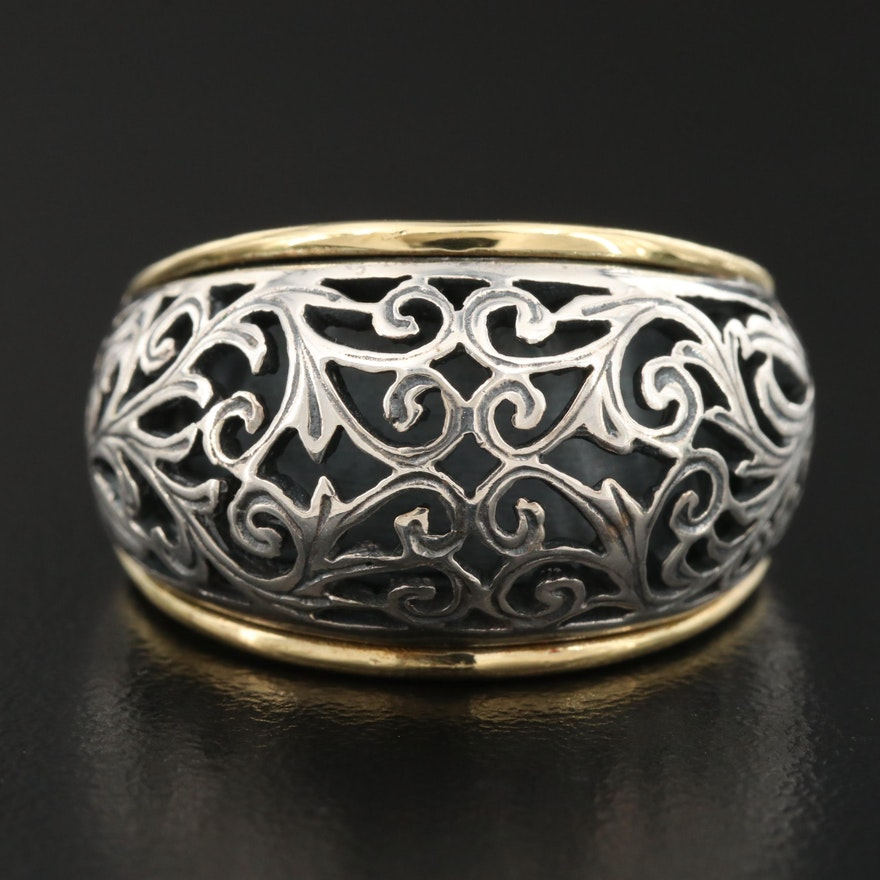 Sterling Silver and 18K Open Scrollwork Dome Ring