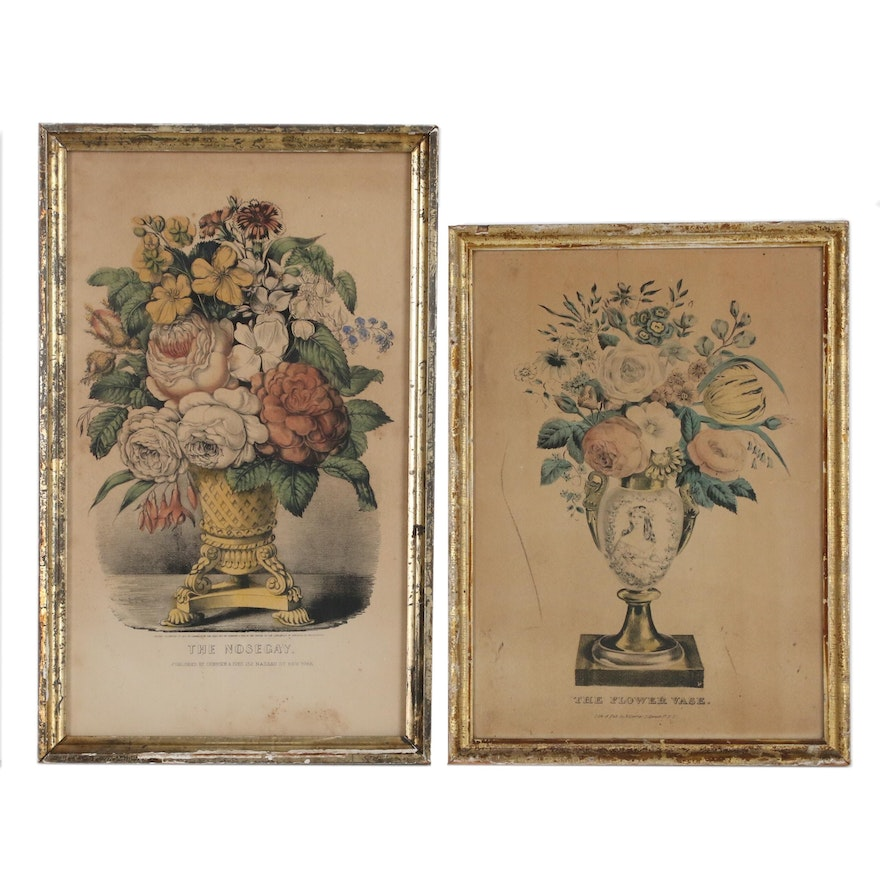 """Currier & Ives Hand-Colored Lithographs """"The Nosegay"""" and """"The Flower Vase"""""""
