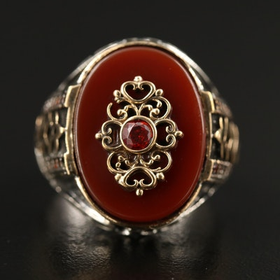 Sterling Silver Carnelian and Cubic Zirconia Knot Motif Ring