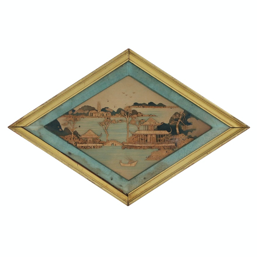 East Asian Carved Cork Landscape of Lake Scene with Pagodas