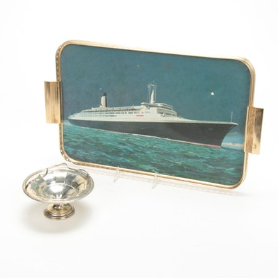 Sterling Silver Bonbon Bowl with Queen Elizabeth II Ship Motif Tray, Mid 20th C.