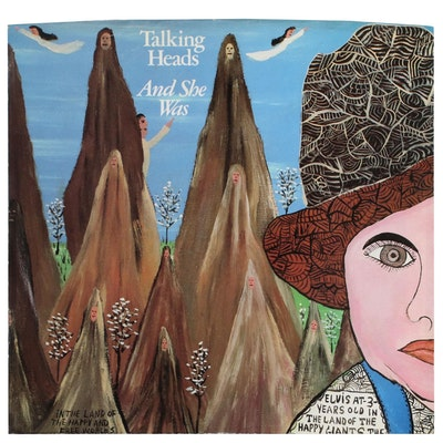 """Talking Heads 45 RPM Record with Album Art After Howard Finster """"And She Was"""""""
