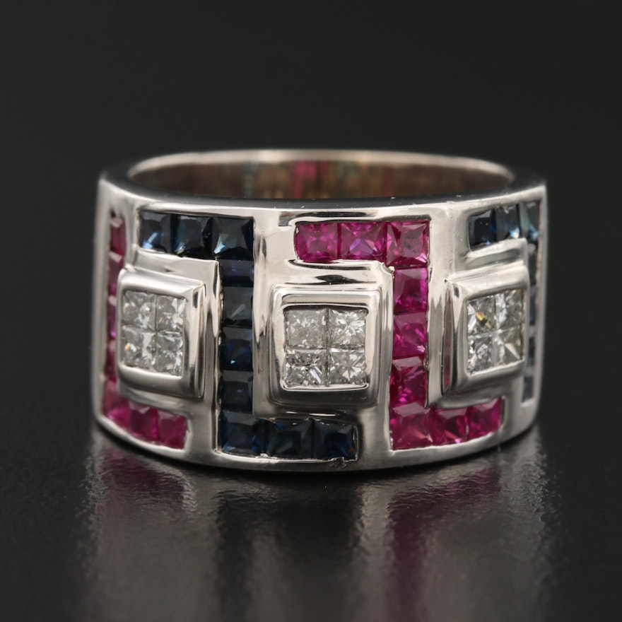 14K Diamond, Ruby and Sapphire Band