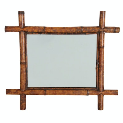 Accent Mirror with Crossed Bamboo Frame, Late 20th Century
