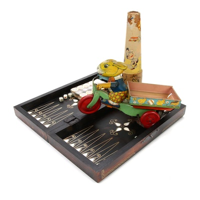 Wind-Up Tin Toy, Paper Kaleidoscope and Shell Inlaid Backgammon Set
