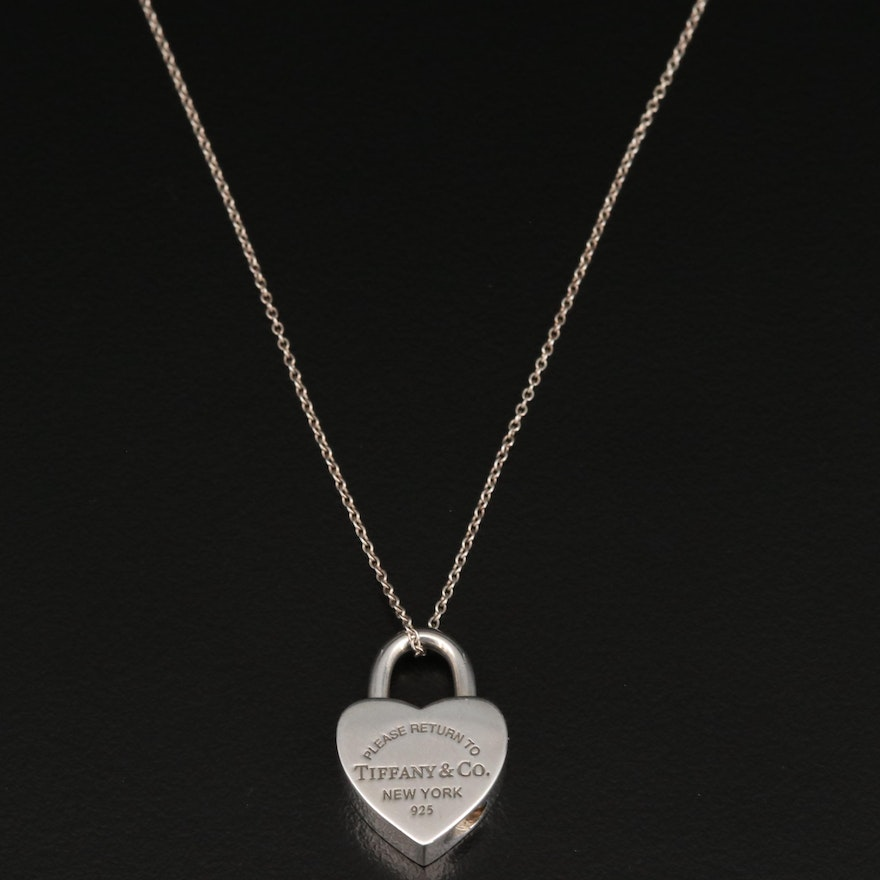 Tiffany & Co. Sterling Silver Padlock Heart Pendant Necklace