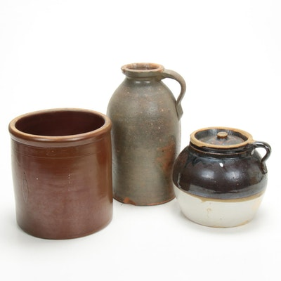 Stoneware One Handled Bottle, Crock and Two Quart Pot, Late 19th-Early 20th C.