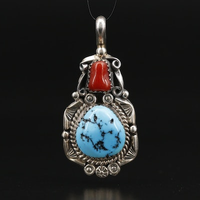 Western Sterling Coral and Turquoise Pendant