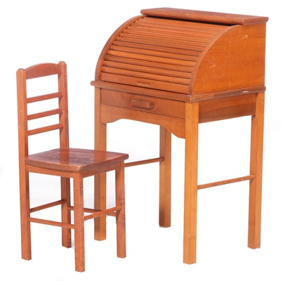 Cherrywood-Stained Child's Roll Top Desk and Side Chair, 20th Century