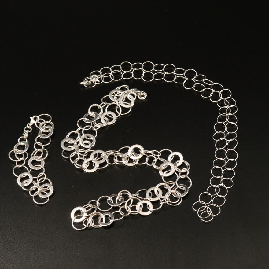 Sterling Silver Circular Chain Link Bracelet and Necklaces