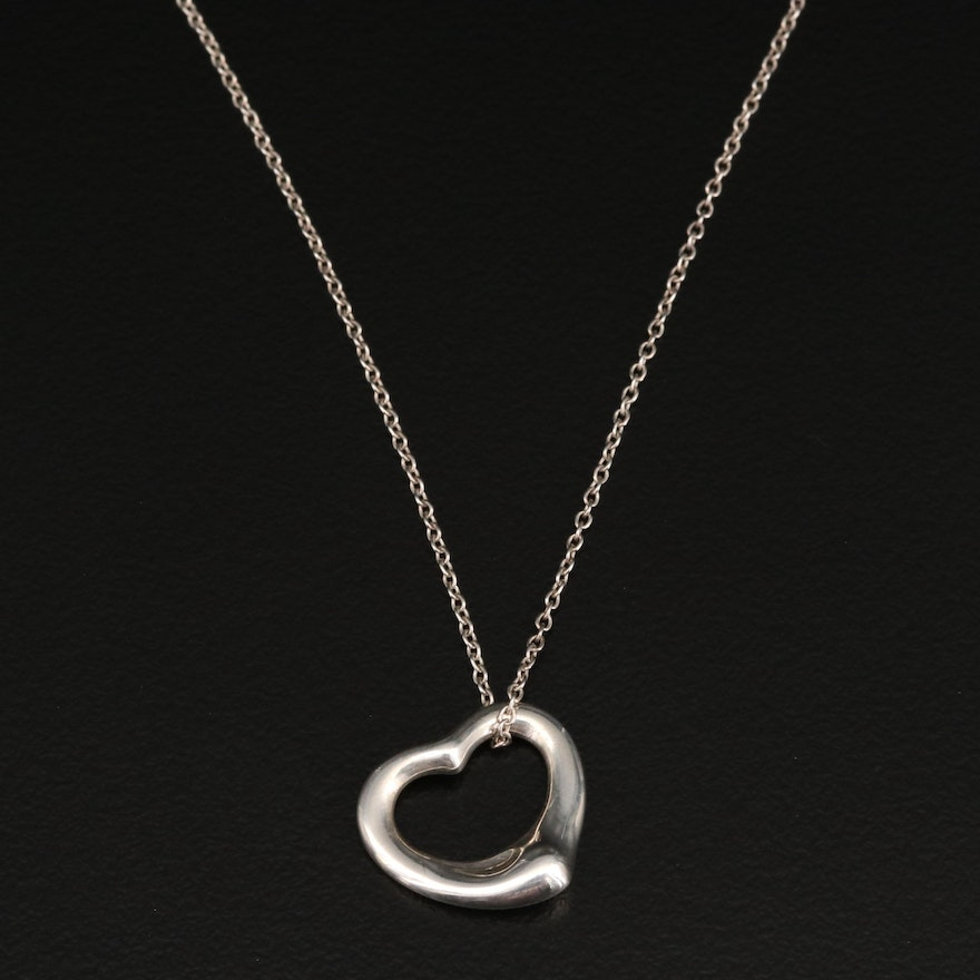 Elsa Peretti for Tiffany & Co. Sterling Silver Open Heart Pendant Necklace