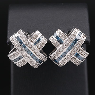 14K 2.00 CTW Diamond Cross Earrings
