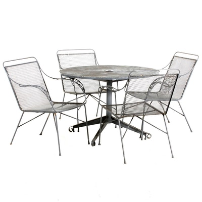 Painted Metal Mesh Patio Dining Table and Chairs, Late 20th Century