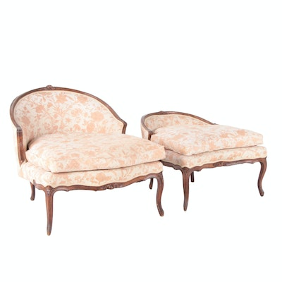 Louis XV Custom-Upholstered Beech Duchesse Brisée Chaise Lounge, Early 19th C.