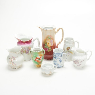 Haviland and Other Hand-Painted Porcelain Pitchers, Creamers and More