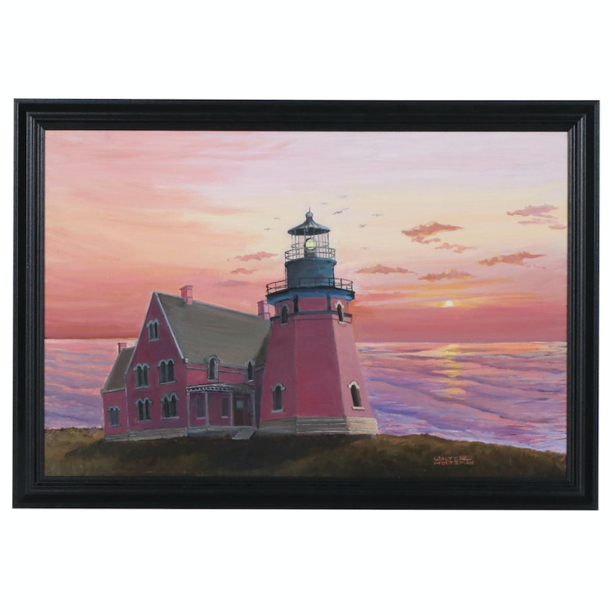 Walter Holtzman Oil Painting of Lighthouse at Sunset, Late 20th Century