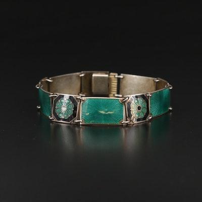 Vintage David Andersen Scandinavian Guilloche and Cloisonne Bracelet