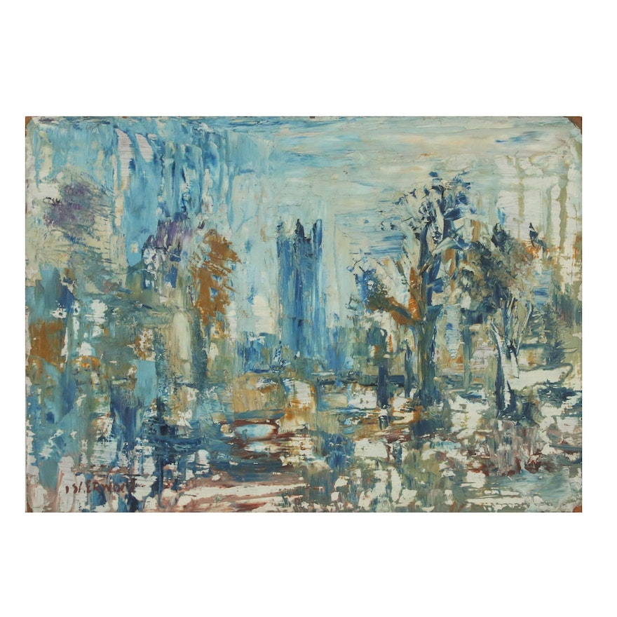 """James Lawrence Isherwood Abstract Cityscape """"Cathedral"""", Mid-Late 20th Century"""