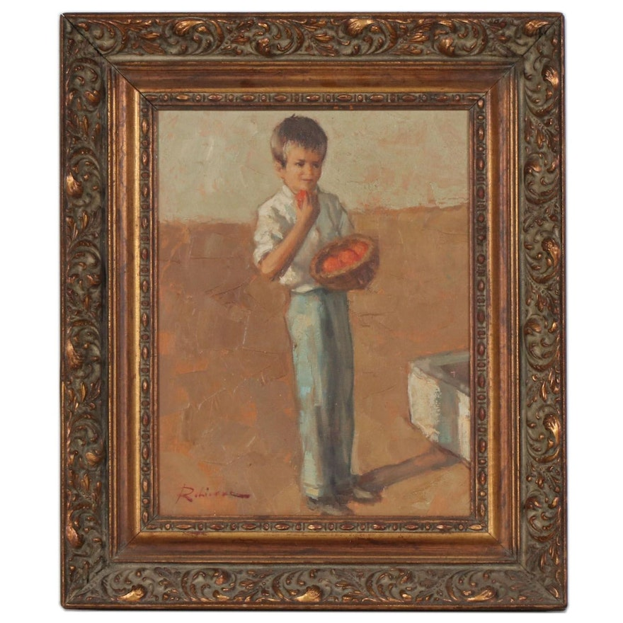 """Marc Robierre Oil Painting """"Boy"""", Mid to Late 20th Century"""