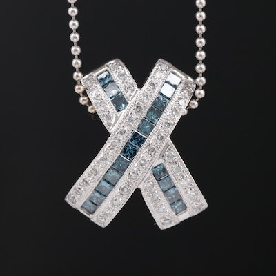 14K Diamond Slide Pendant Necklace