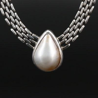 Sterling Silver Pearl Necklace Featuring Mesh Style Chain