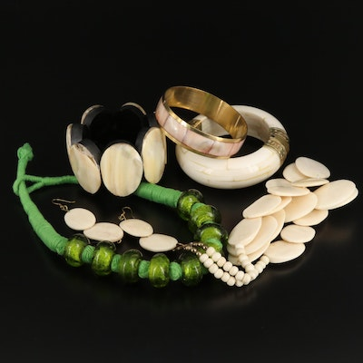 Assorted Jewelry Featuring Bone, Mother of Pearl and Glass