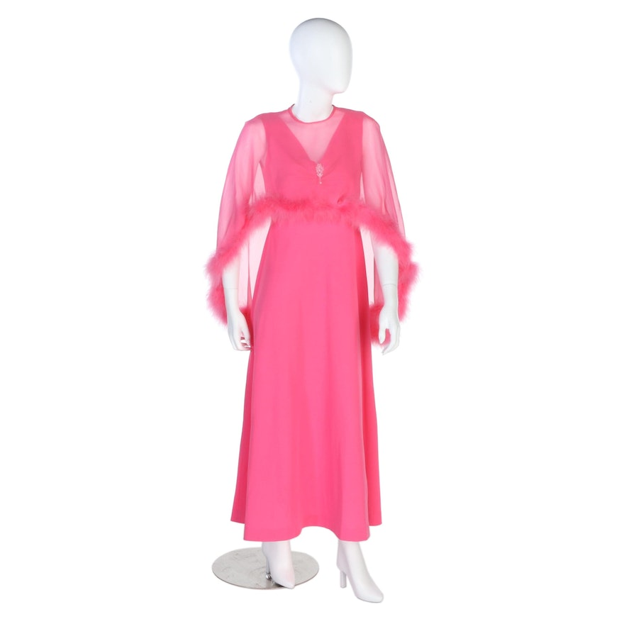 Pink Empire Waist Sleeveless Dress with Sheer Marabou Trimmed Cape, Vintage