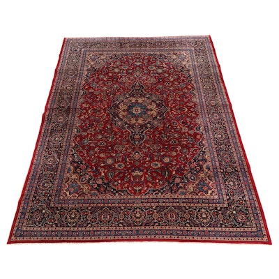 9'7 x 13' Hand-Knotted Persian Kashan Room Sized Rug