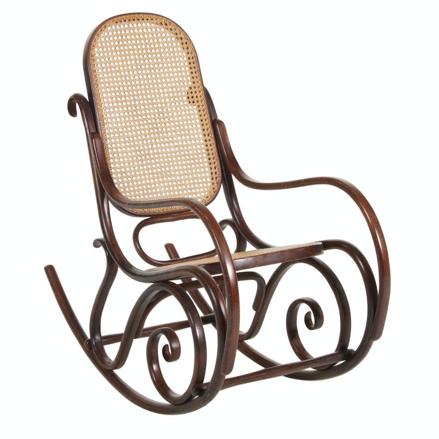 Bent Wood and Woven Cane Rocking Chair, Late 20th Century