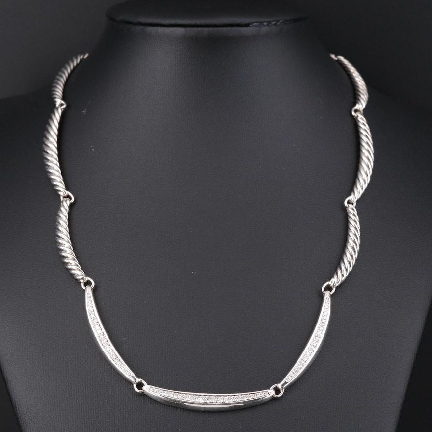 David Yurman Sterling Silver Diamond Choker Necklace with Scalloped Design