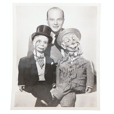 Edgar Bergen and Charlie Signed Ventriloquist Publicity Photo Print, 1956