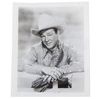 "Roy Rogers Signed ""Happy Trails and Trigger"" Western Star Photo Print, Vintage"