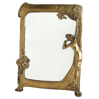 Brass Art Nouveau Mirror, Early 20th Century