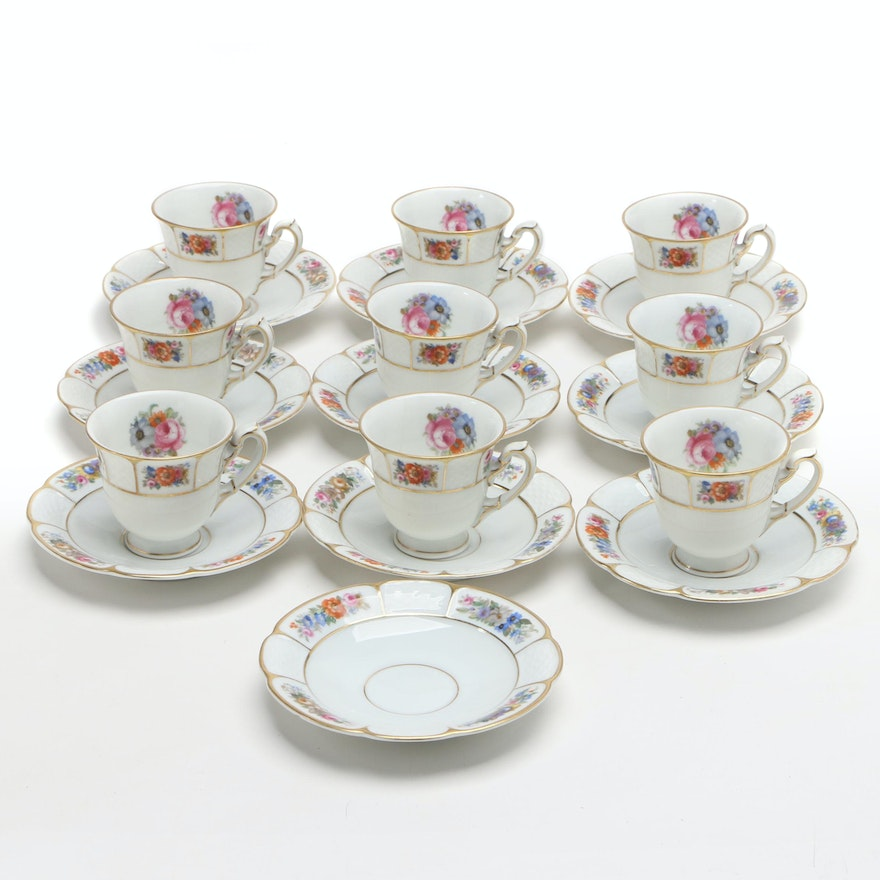 "Rosenthal ""Barrock"" Porcelain Teacups and Saucers"