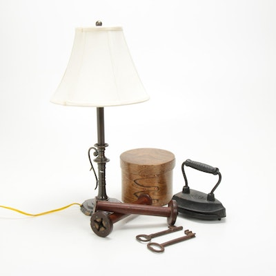 Brass Table Lamp, Skeleton Keys, Spools and More