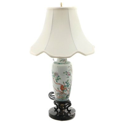 Chinese Floral Motif Porcelain Vase Converted to a Lamp, 20th Century