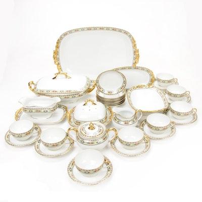 J P Jean Pouyat Limoges Gilt Trim Porcelain Serveware