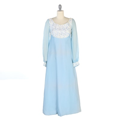 Union Made Empire Waist Dress in Baby Blue Crepe Chiffon and Lace, Vintage