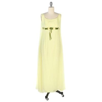 Union Made Empire Waist Sleeveless Cape Dress in Yellow Crepe Chiffon, Vintage