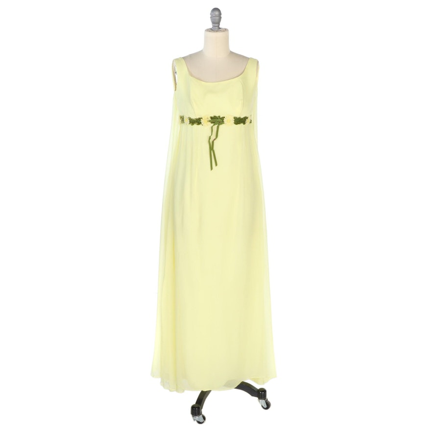 Union Made Empire Waist Sleeveless Cape Dress in Yellow Crepe Chiffon, Vintage
