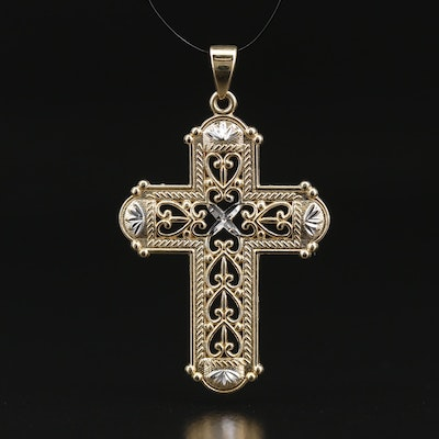 14K Two-Color Open Scrollwork Cross Pendant