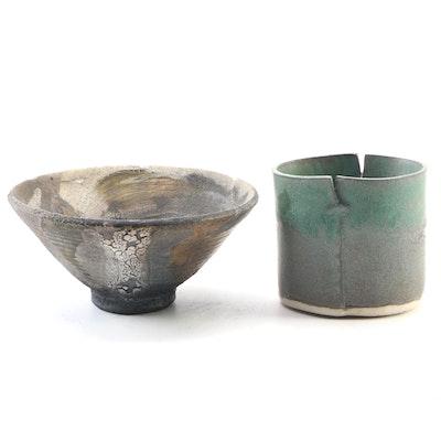 John Tuska Ceramic Rice Bowl and Slab Teacup