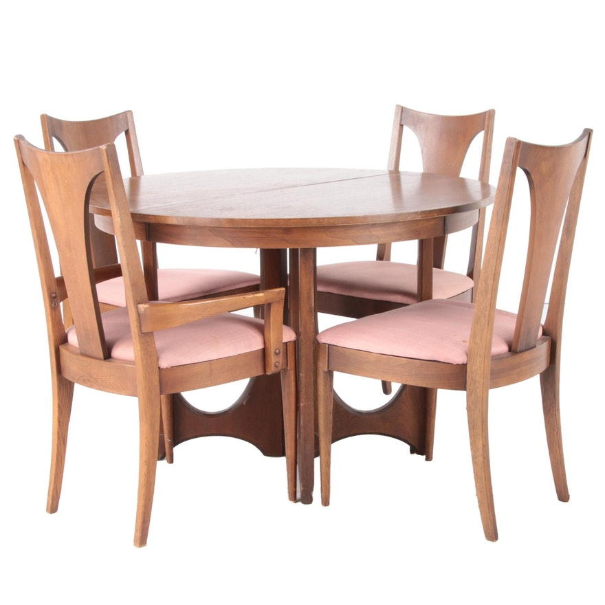 Broyhill Emphasis Dining Mid Century Modern Walnut Dining Set with Leaf Inserts