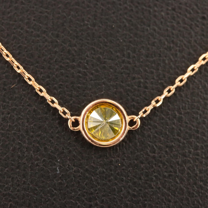 18K Bezel Set Diamond Pendant Necklace