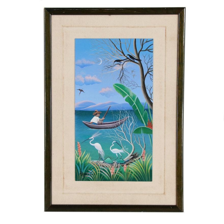 Haitian Folk Art Painting of Fisherman and Wildlife