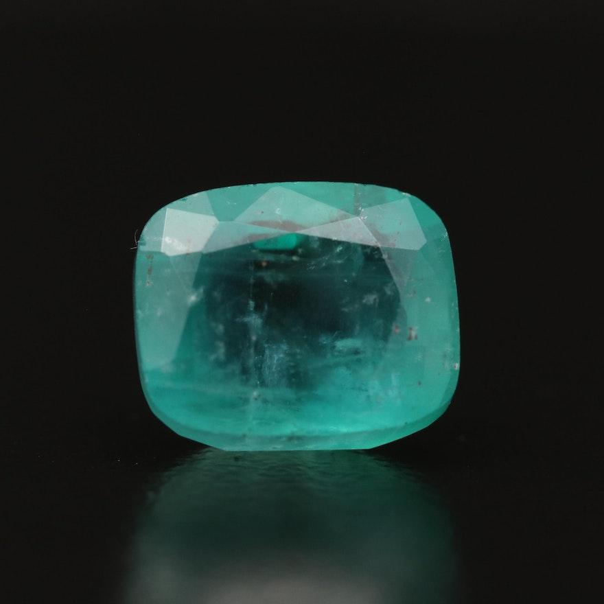 Loose 3.71 CT Cushion Cut Emerald