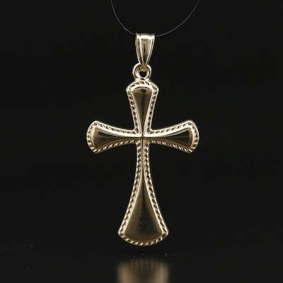 14K Cross Pendant with Textured Frame