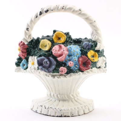 Cast Iron Flower Bouquet in Basket Doorstop, Early to Mid 20th C.