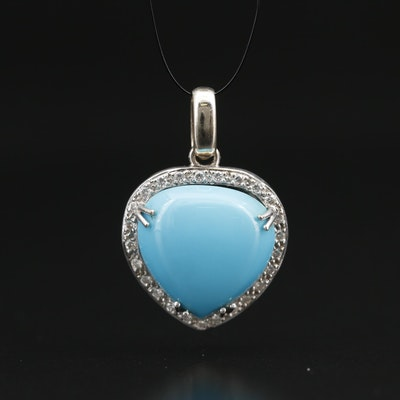 14K Pendant with Cabochon Center and Diamond Halo